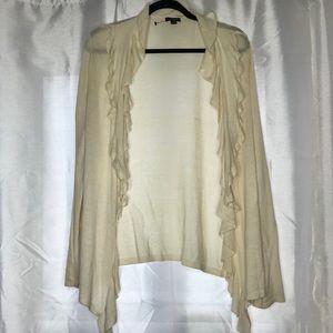 🍭ANN TAYLOR Cream Silk Viscose Cardigan Sweater L